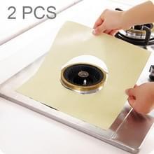 2 stuks Teflon gasoven oppervlak ultradun vezelmateriaal kookplaat beschermende Reinigingspad  grootte: 27 * 27 cm (beige)
