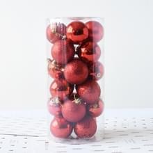 24 stuks 6cm Plating Plastic Kerstboom decoraties opknoping bal van de String  willekeurige kleur levering