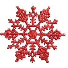12 stuks kerstboom ornamenten acryl Snowflake stukken decoratieve hanger losse poeder  Diameter: 10cm(Red)