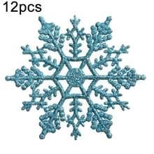 12 stuks kerstboom ornamenten acryl Snowflake stukken decoratieve hanger losse poeder  Diameter: 10cm (Baby blauw)