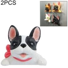 2 PC'S Home Decoratie originaliteit Franse Bulldog stropdas 3D magnetische gesp koelkast plakken