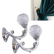 2 PC'S retro water wafer hoofd Barb gordijn decoratieve muur haak (zilver)