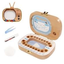 Creatieve houten kinderen TV set Bladverliege tand behoud vak baby tanden Tandhuis opbergdoos