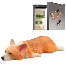 Huis decoratie mooie Rrunk op slaap Corgi 3D magnetische gesp koelkast plakken