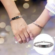Valentines Day gift creatieve trendy Titanium stalen paar armband voor vrouw  gegraveerd woorden stijl (zwart + blauw)