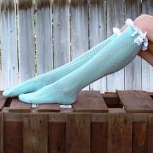 Sexy Lace kousen vrouwen dij hoog boven knie sokken voorjaar winter lange sokken Fashion meisjes katoen kous (blauw)