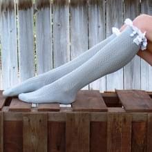 Sexy Lace kousen vrouwen dij hoog boven knie sokken voorjaar winter lange sokken Fashion meisjes katoen kous (lichtgrijs)