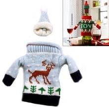 Kerst herten grijze trui doek stijl tafel decoratie Champagne wijn fles zak  lichaamsgrootte: 18 x 13 cm