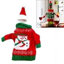 Kerst sneeuwpop trui doek stijl tafel decoratie Champagne wijn fles zak  lichaamsgrootte: 18 x 13 cm