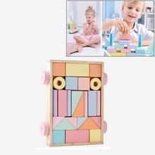 Pine hout Macaron kleur trailer bouwstenen kinderen verlichting vroege onderwijs intelligentie speelgoed 24 stuks (rood)