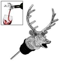 Herten hoofd vorm wijn gieten machine wijn mond rode wijn fles Stopper  grootte: 11 8 x 7.7 cm (zilver)