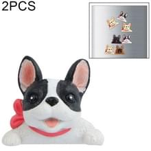 2 PC'S Home Decoratie originaliteit Franse Bulldog stropdas 3D koelkast plakken  geen magnetische