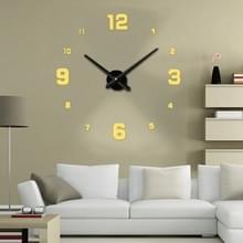 Slaapkamer Home Decoratie spiegelende nummer frameless grote 3D DIY Muur Sticker Mute Klok  Grootte: 100 * 100cm (Goud)