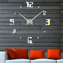 Slaapkamer Home Decor Frameless Groot Aantal 3D Spiegel DIY Wall Sticker Mute Klok  Grootte: 100 * 100cm (Zilver)