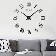 Slaapkamer huis decoratie frameless Romeinse cijfers grote DIY muur sticker Mute klok  grootte: 100 * 100cm (zwart)