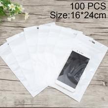 100 stuks 16 x 24 cm hangen gat duidelijk Front White Pearl Jewelry Zip-Lock verpakking zak  Custom Printing en grootte zijn welkom