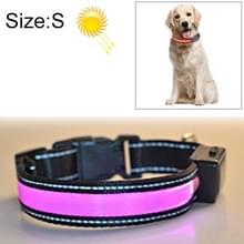 Middelgrote en grote hond Pet Solar + USB Opladen LED Licht Kraag  Hals omtrek Grootte: S  35-40cm (Roze)