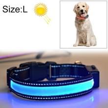 Middelgrote en grote hond Pet Solar + USB Opladen LED Licht Kraag  Hals omtrek Grootte: L  50-60cm(Blauw)
