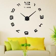 Slaapkamer thuiskantoor decoratie moderne frameless groot aantal DIY 3D spiegel muur sticker stille klok  grootte: 100 * 100cm (zwart)