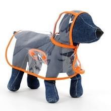 Waterdichte transparante huisdier regenjas regen slijtage Poncho  L  harnas borst kledingmaat: 40cm  terug lengte: 32cm  huisdier gewicht: 3.5-4.5kg(Orange)