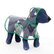 Waterdichte transparante huisdier regenjas regen slijtage Poncho  L  harnas borst kledingmaat: 40cm  terug lengte: 32cm  huisdier gewicht: 3.5-4.5kg(Green)