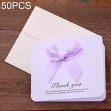 50 PC'S Festival creatieve universele bowknot wenskaarten met envelop (paars)