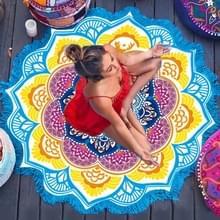 Microfiber kleurrijke gedrukte kwast Lotus zomer Bad handdoek zand strand handdoek omslagdoek sjaal  maat: 150 x 150cm(Blue+Yellow)