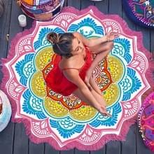 Microfiber kleurrijke gedrukte kwast Lotus zomer Bad handdoek zand strand handdoek omslagdoek sjaal  maat: 150 x 150cm(Magenta+Blue)