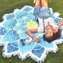 Veelhoek prachtig kwast Lotus zomer Bad handdoek zand strand handdoek omslagdoek sjaal Yoga Mat  maat: 150 x 150cm(Blue)