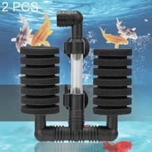 2 stks muur gemonteerde aquarium mini dubbele kop pneumatisch dempen biochemisch katoen filter