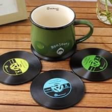 4-delige Retro zwart Vinyl CD Record Drink Coasters Home tabel Cup Mat Decor koffie drinken Placemat tafelgerei spinnen  Diameter: 10cm  willekeurige kleur levering