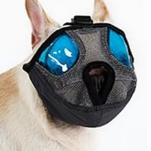 Verstelbare korte mond platte neus huisdier hond mond Cover muilkorf anti-bijtende blaffende comfortabele Camouflage  M  nek grootte: 28-48cm(Grey)