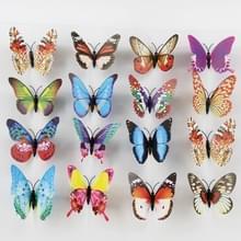 100 stuks Fashion lichtgevende vlinder met dubbelzijdige zelfklevende simulatie koelkast magneten muur Sticker tuin decoratie  willekeurige kleur levering