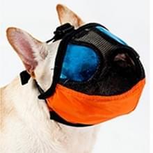 Verstelbare korte mond platte neus huisdier hond mond Cover muilkorf anti-bijtende blaffende comfortabele Camouflage  L  nek grootte: 36-64cm(Orange)
