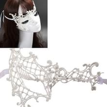Halloween Masquerade Party Dance Sexy dame semi-eyed gezicht Lace Mask(White)