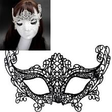 Halloween Masquerade Party Dance Sexy Lady Lace Fox Mask(Black)