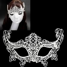 Halloween Masquerade Party Dance Sexy Lady Lace Fox Mask(White)