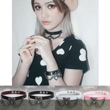 2 PC's Europese en Amerikaanse Harajuku Punk hart-vorm Lock lederen kraag Choker armband  willekeurige kleur levering