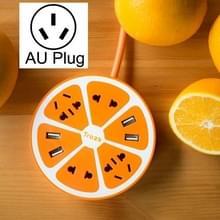 TROZK-UZ001 Universal Circular Shape Power Socket Adapter Converter with 4 US / AU / EU Plug Supply Hubs & 4A Four USB Ports  AU Plug(Orange)