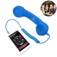 3.5 mm plug Mic retro telefoon anti-straling mobiele telefoon handset ontvanger (blauw)