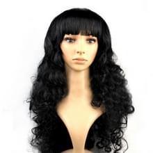 Kleurrijke Wild-Curl Up feest hoofddeksels golvende lange PET pruiken voor Female(Black)