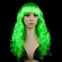 Kleurrijke Wild-Curl Up feest hoofddeksels golvende lange PET pruiken voor Female(Green)