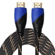 10m HDMI 1.4 versie 1080 P geweven Net lijn blauw zwarte kop HDMI Male naar HDMI Male Connector voor Audio Video-adapterkabel
