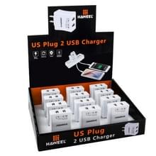 12 PCS HAWEEL 2 USB Ports Max 3.1A Travel Charger Kit with Display Stand  Box  US Plug  For iPhone  Galaxy  Huawei  Xiaomi  LG  HTC and other Smartphones