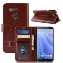 R64 Textuur enkele vouw horizontaal flip lederen Case voor HTC Desire 12S  met houder & portemonnee & kaartsleuven & Foto Frame(Brown)