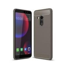 Voor HTC U11 ogen geborsteld textuur koolstofvezel terug schokbestendige TPU beschermende hoes (grijs)
