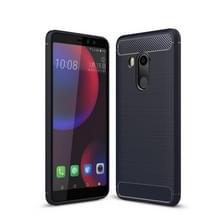 Voor HTC U11 ogen geborsteld textuur koolstofvezel terug schokbestendige TPU beschermende hoes (marineblauw)