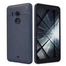 Lenuo Leshen serie voor HTC U11 + TPU Litchi textuur Dropproof beschermende terug dekken Case(Blue)
