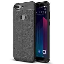 Voor HTC Desire 12 + Litchi textuur zachte TPU terug beschermhoes Case(Black)