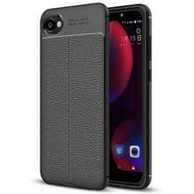 Voor HTC Desire 12 Litchi textuur zachte TPU terug beschermhoes Case(Black)